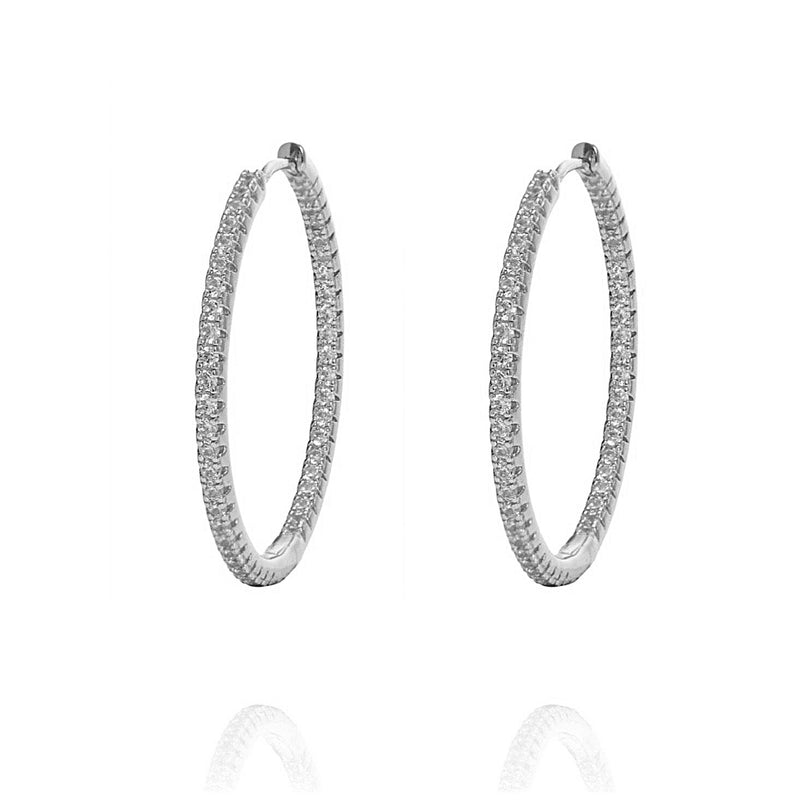 ALEA 2in1 - DIAMOND INSIDE OUTSIDE HOOPS AND PLAIN HOOPS - Maxi-  Silber rhodiniert