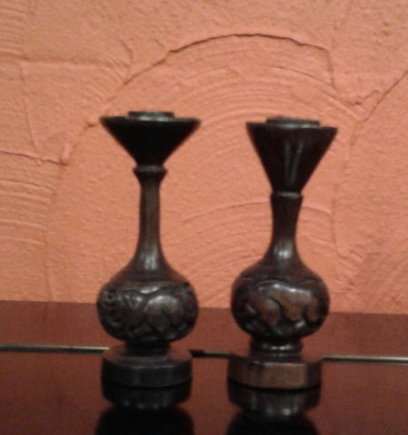 Candle Holders Ebony Wood (set of 2)