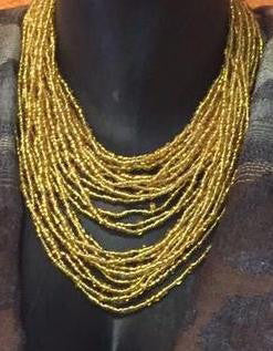 Gold color beaded African necklace