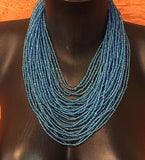 Blue Beaded African necklace