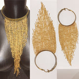 African beaded gold Colors  necklaces with brass