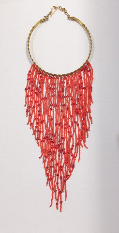 African beaded Red Colour necklaces with brass