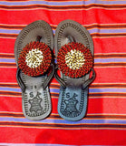 Beaded leather summer sandals