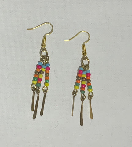 Beautiful bead brass earrings