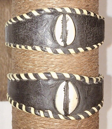 Leather Cowries Bangles black