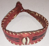 Leather Cowries Bangles  Handmade red