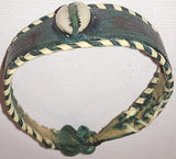 Leather Cowries Bangles  green colors