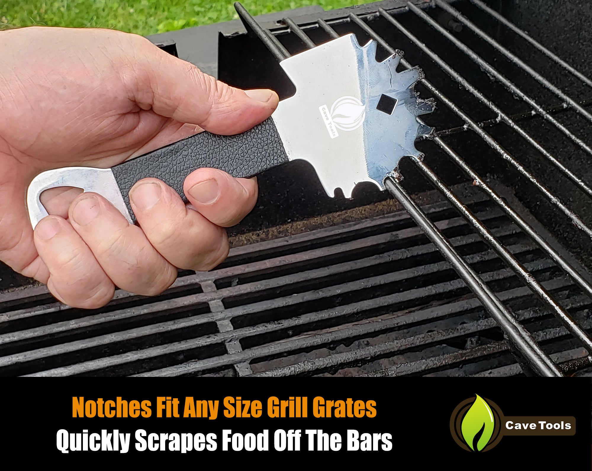 Grill Scraper Tool With Extended Handle And Bottle Opener Cave Tools