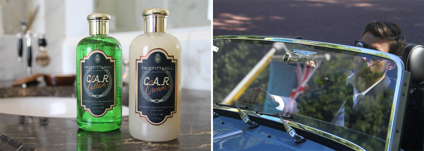 Split image. On the left is a bottle of C.A.R. Lotion and C.A.R. Cream. On the right is a man driving a Morgan Motor convertible.