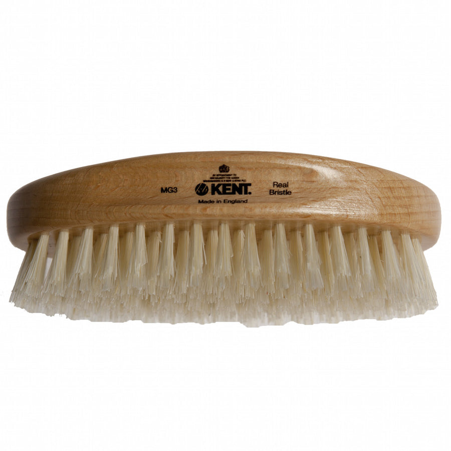Kent Military Brush, Oval, Beechwood, Pure White Bristle Hairbrush - Truefitt & Hill Canada