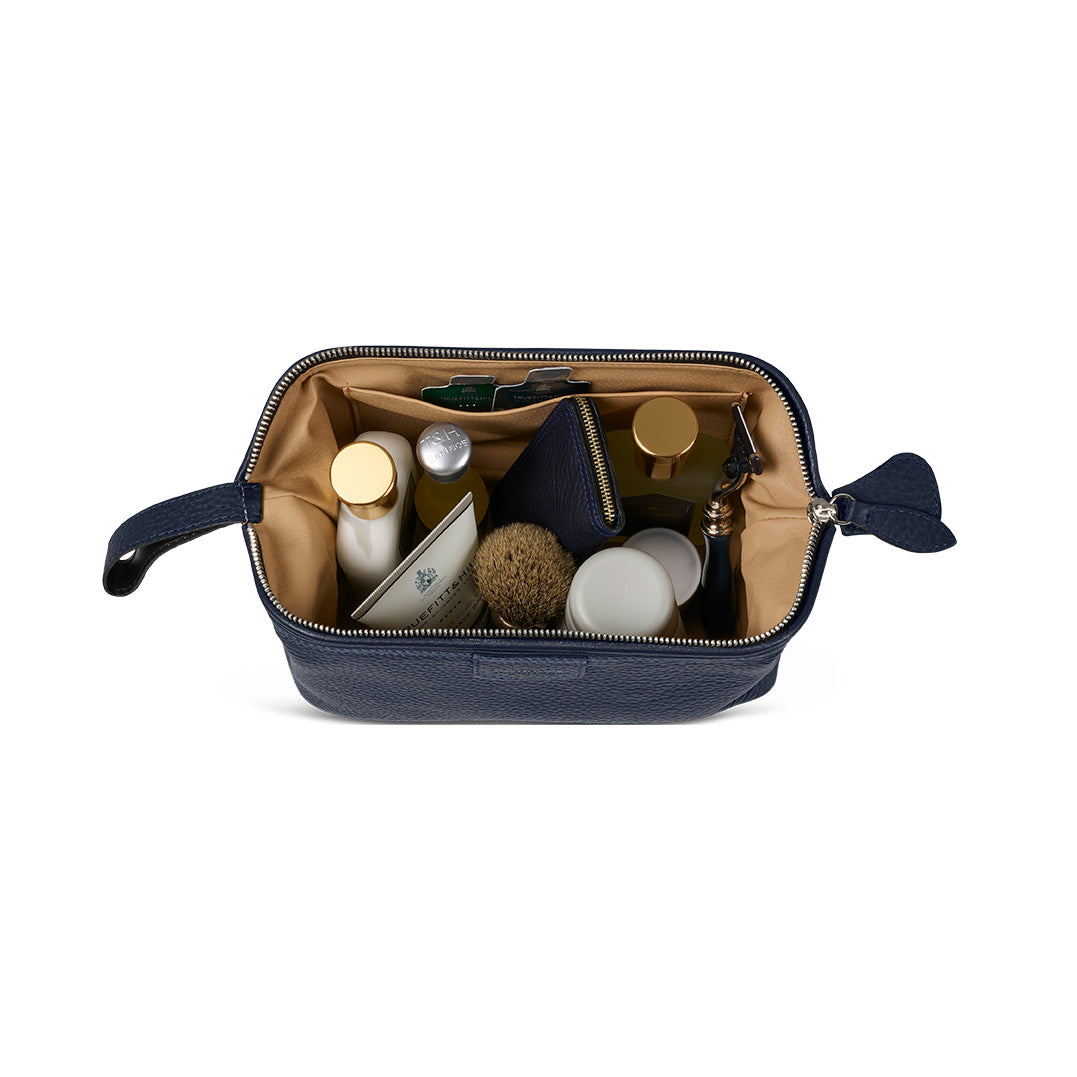 T&H Navy Nappa Wash Bag