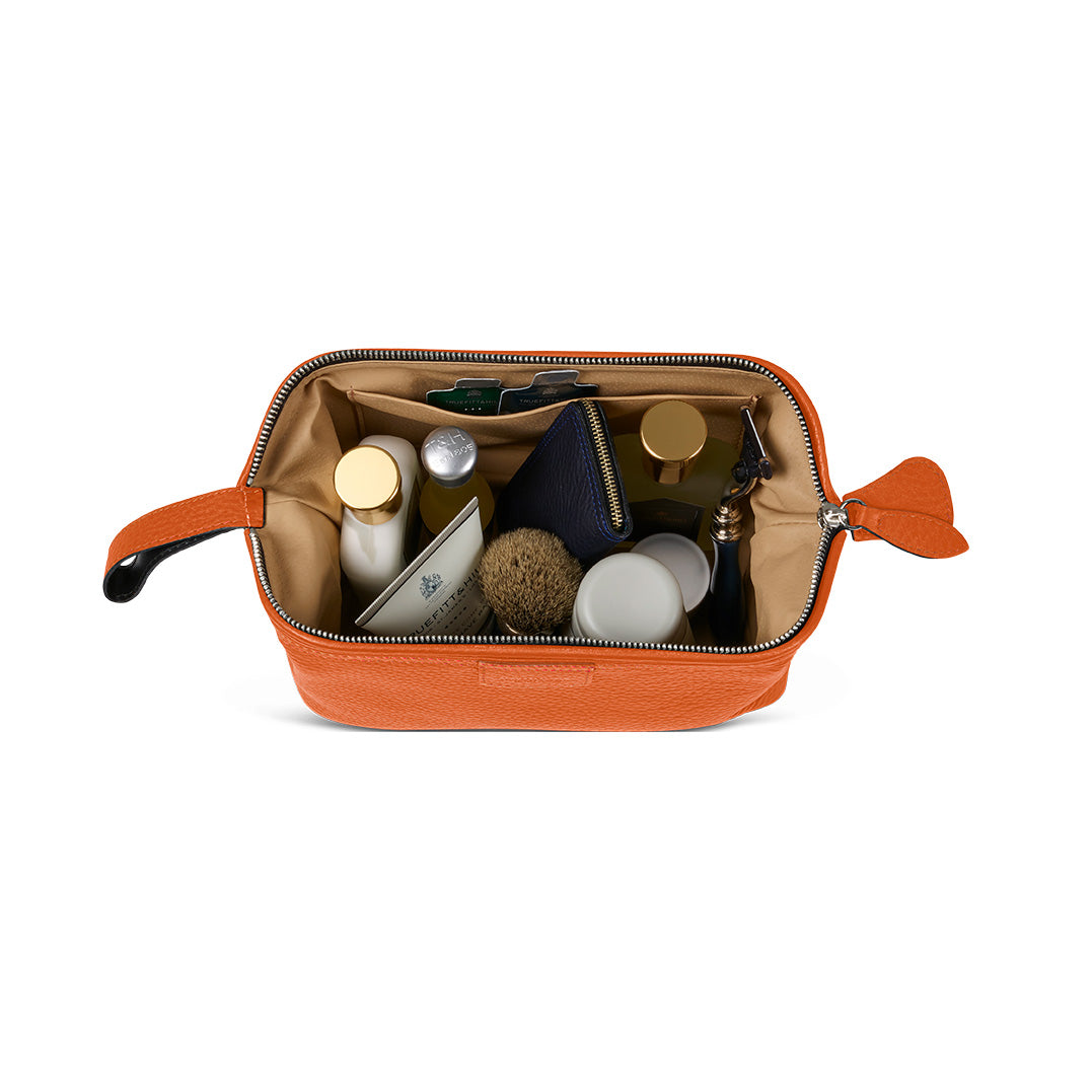 T&H Orange Nappa Wash Bag