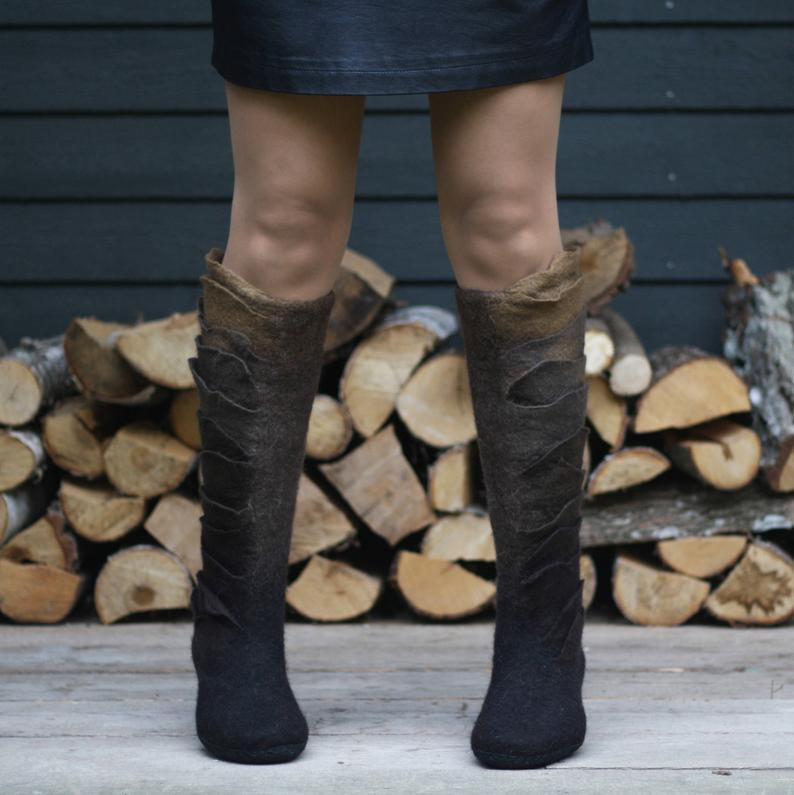 Felted boots made from organic wool- perfect year round!
