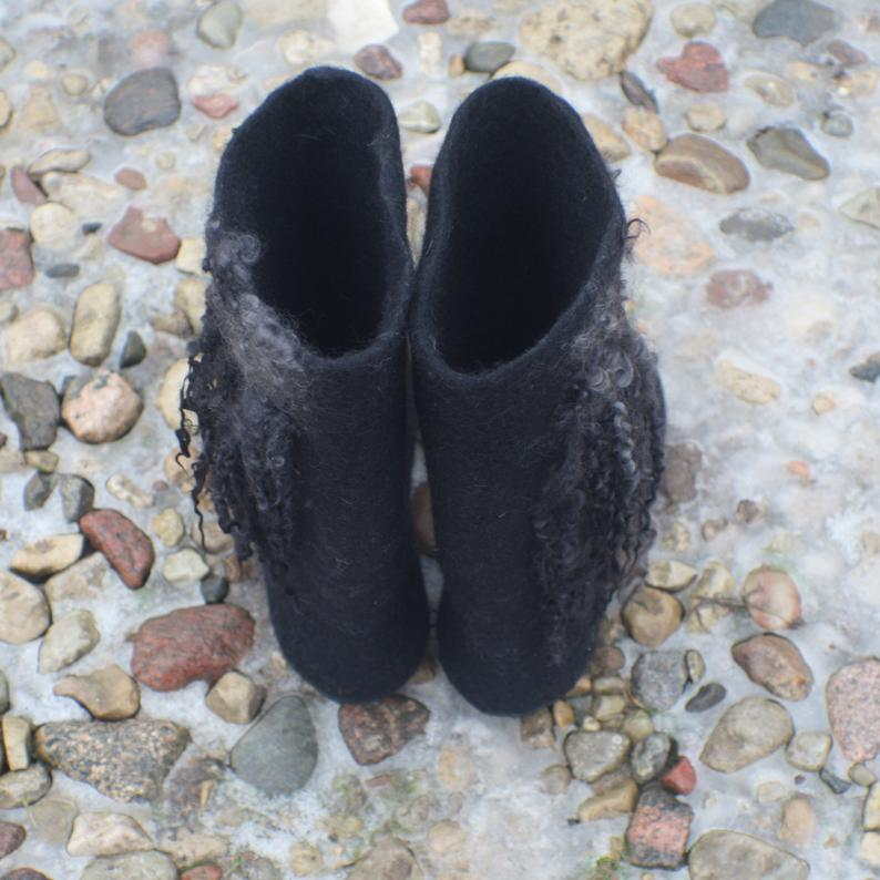 Felted boots made from organic wool - 'WILD LIFE'