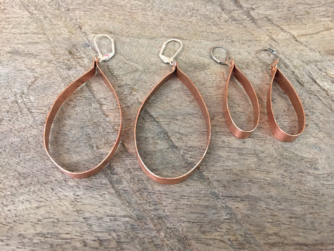 Recycled Copper Loop Earrings