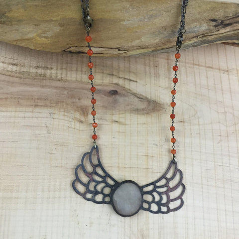 Beach Quartz Wing Necklace
