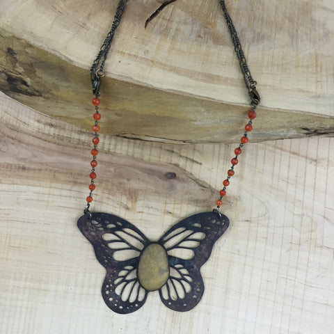 Beach Quartz Butterfly Necklace ~ Monarch