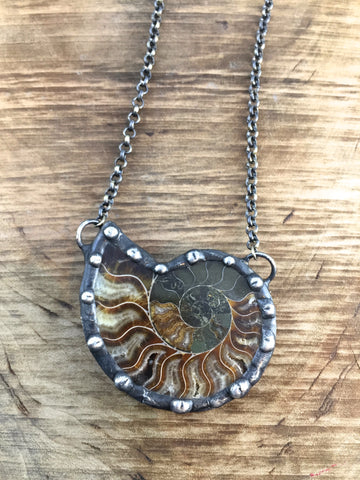 Ammonite Fibonacci Fossil Necklace ~ Large