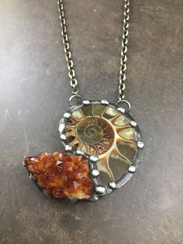 Ammonite And Citrine Fossil Necklace