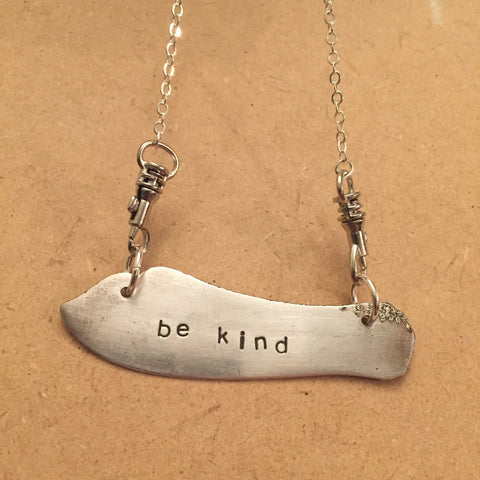 """be kind"" Blade Necklace"