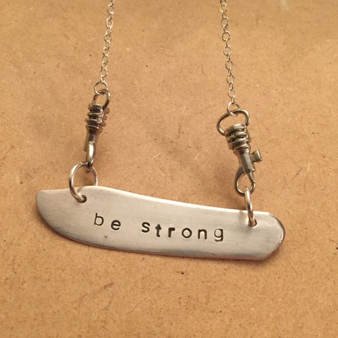 """be strong"" Blade Necklace"