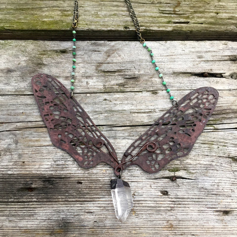 Dragonfly Necklace, Large ~ Quartz