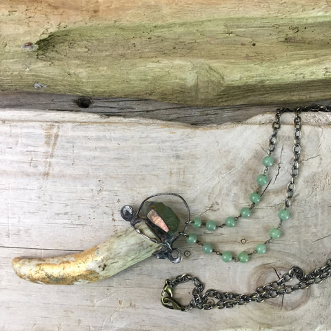 Antler & Anodized Quartz Sage Necklace