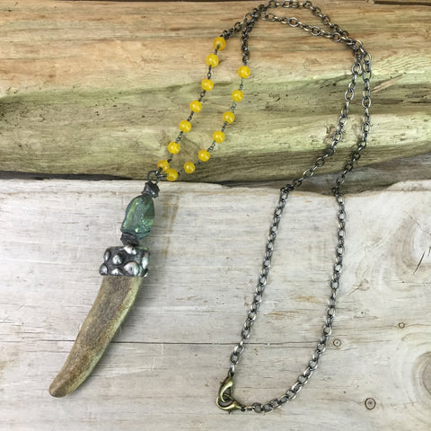 Antler & Anodized Quartz Warrior Necklace