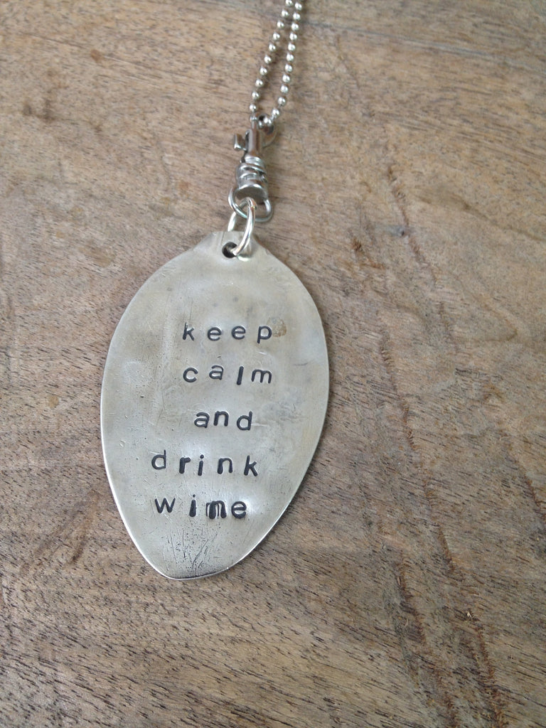 """keep calm and drink wine"" Stamped Spoon Necklace"