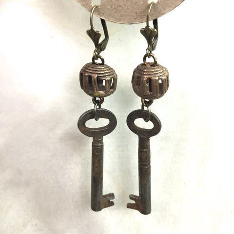 Earrings Skeleton Key & Brass Bead