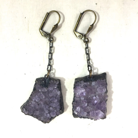 Earrings Oxidized Amethyst Druze