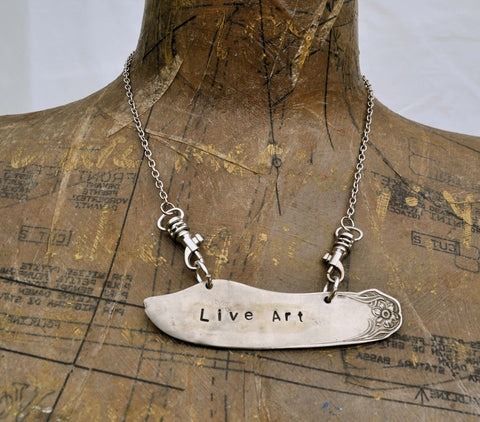 """A custom phrase!"" CUSTOM Stamped Butter Knife Necklace For You!"