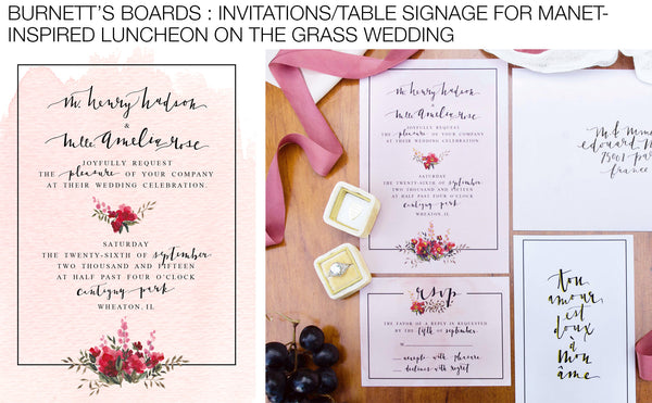 Manet-inspired Wedding Invitations and Table Signage Hand-Painted by artist Mari Orr for Tulip + Rose Photography
