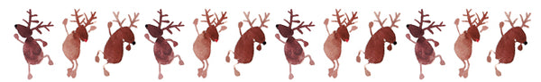 Whimsical watercolor dancing reindeer FREE December download for the holidays! Painted by artist Mari Orr. || www.mariorr.com
