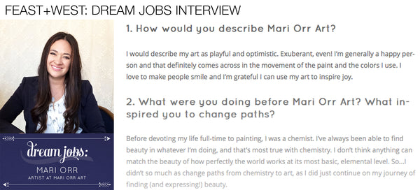 Feast+West Dream Jobs Interview with artist Mari Orr