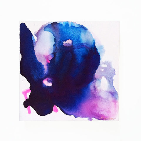 Amelie Abstract Watercolor with Indigo Blue Purple Pink by Mari Orr