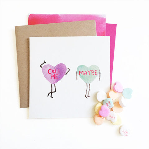 Call Me Maybe Candy Hearts Watercolor Valentine Greeting Card Cute Silly Funny || Mari Orr