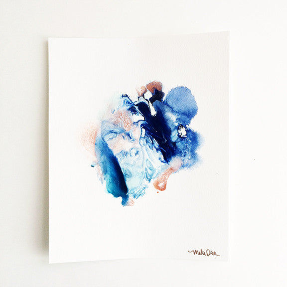 Daphne Blue Copper Abstract Painting Art Home Decor by Mari Orr || www.mariorr.com