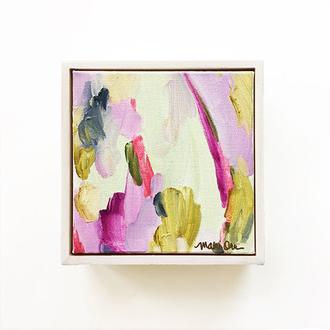 Evangeline Abstract Art Oil Painting Green Purple White Washed Wood Frame || www.mariorr.com