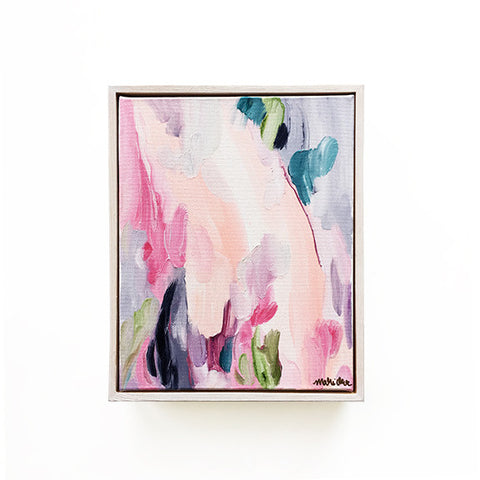 Fleur Feminine Abstract Painting 8x10 Floater Frame Original Art by Mari Orr || www.mariorr.com