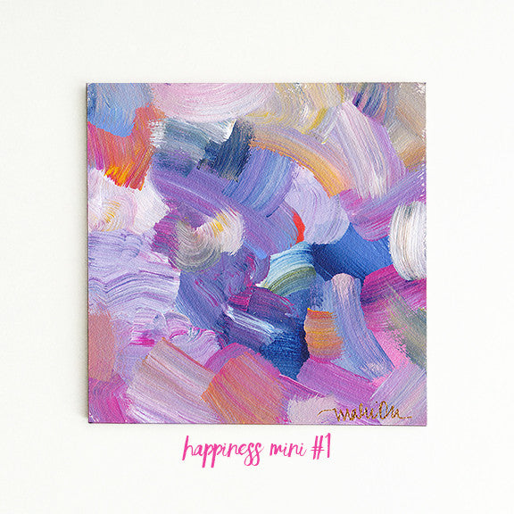Happiness Minis<br>Original Acrylic Abstract Color Study - Mari Orr  - 3