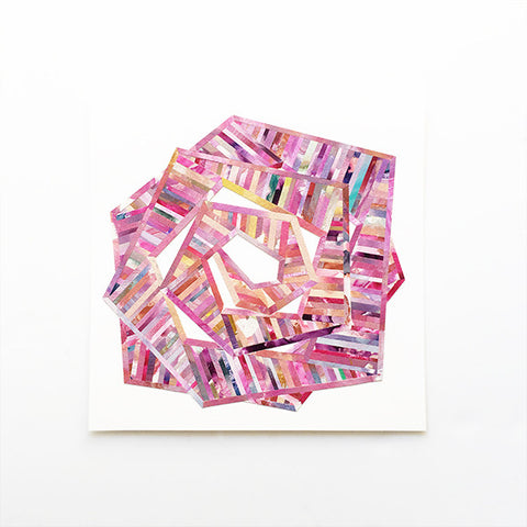 LINEA 015 Original Pink Painted Paper Collage Art by Mari Orr