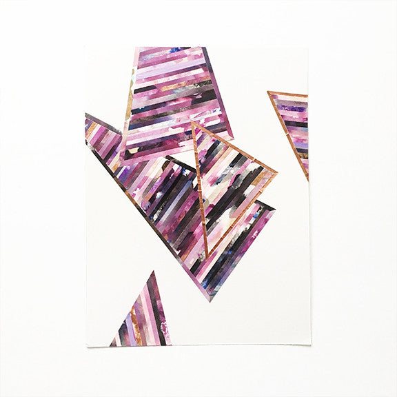 LINEA 018 Original Painted Purple Paper Collage Art by Mari Orr