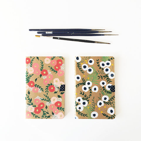Anemone + Craspedia Hand-Painted Journal - Mari Orr  - 1