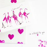 Funny Flamingo Addicted to Love Watercolor Valentine Greeting Card by Mari Orr