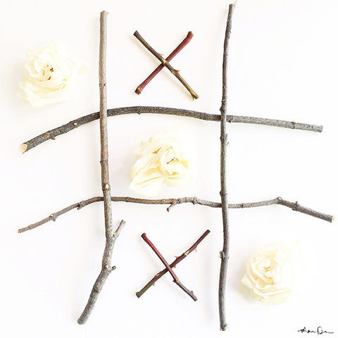 Tic Tac Bloom White Roses and Sticks Playful Photography Print by Mari Orr