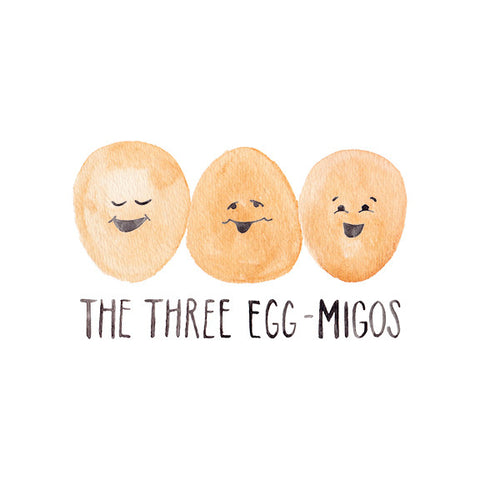 Three Amigos Egg-Migos Egg Pun Greeting Card for Best Friends by Mari Orr