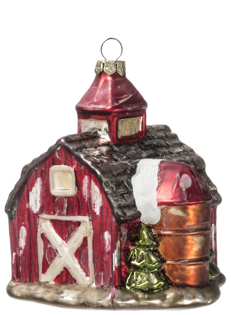 Glass Barn Ornament