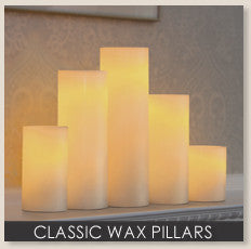 Cream Wax Pillar LED Candle with Timer