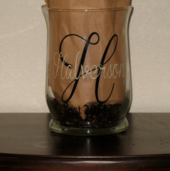 Personalized Glass Hurricane Vase